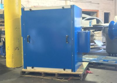 Painted blue 40 HP blower noise enclosure